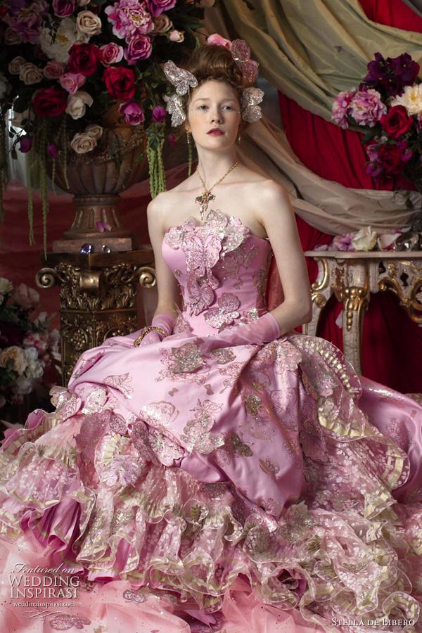 Designer spotlight stella de libero for Floral wedding dresses with color
